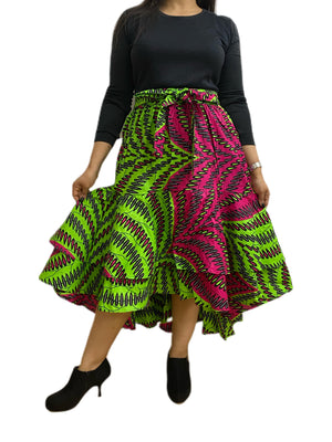 Ruffled Layered A-Line Skirt