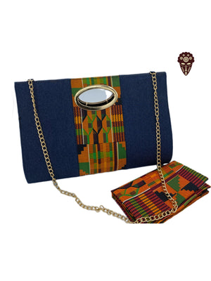 Kente Print Handbag with Headwrap