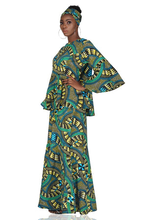 Traditional African Peplum Top and Fish Tail Skirt Set