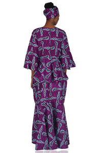 Purple African Peplum Top and Fish Tail Skirt Set