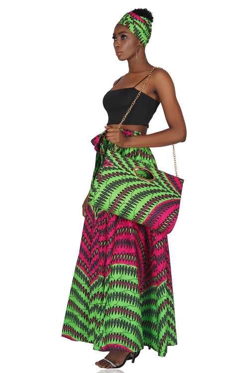 Ankara Long Maxi Skirt With Handbag