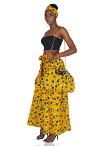 Ankara Yellow Wide Leg pants With Handbag