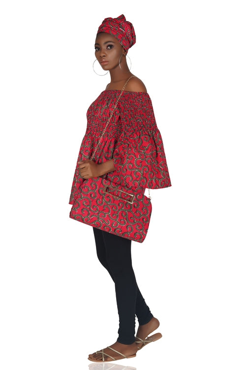 Red Ankara Peplum Blouse With Handbag