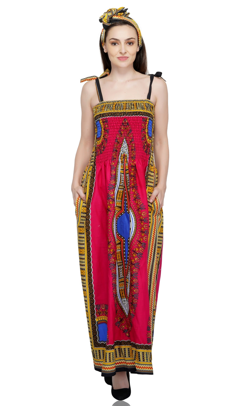 Traditional Dashiki Long Spaghetti Strap Dress