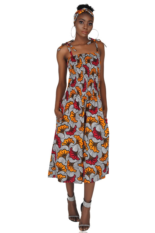 African Spaghetti Short Dress