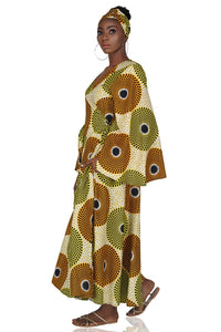 African Long Wrap Dress