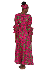 African Long Wrap Dress Ruffle Sleeves