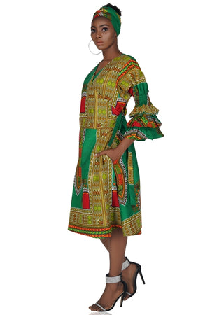Green Dashiki Short Wrap Dress Ruffle Sleeves