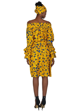 Yellow Star Off The Shoulder Dress