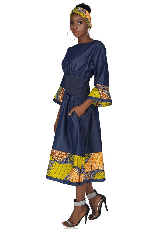African Trim Denim Dress