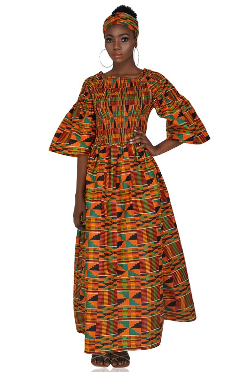 Traditional Kente Long Maxi Dress with Handbag