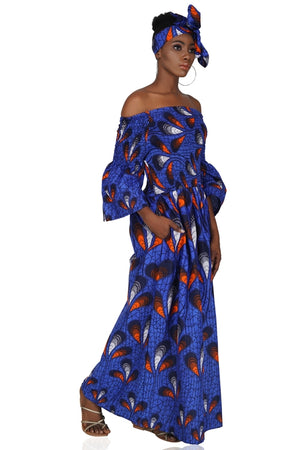 Blue Peacock Long Maxi Dress with Handbag