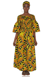 Ankara Long Maxi Dress With Matching Handbag