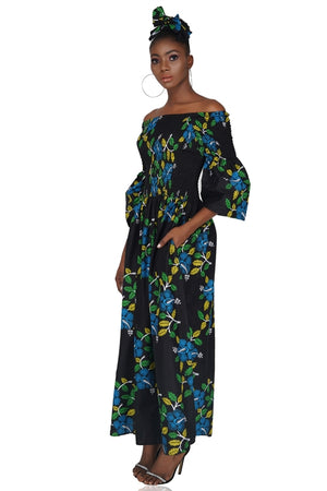 Black Ankara Long Maxi Dress