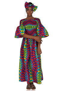Ankara Multi Color Long Maxi Dress