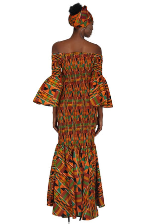 Kente Long Smoked Fish Tail Dress