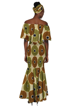 Ankara Circle Print Long Smoked Mermaid/Fish Tail Dress
