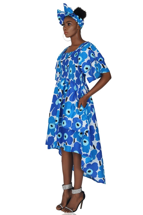 African Tiered High Low Dress With Matching Handbag