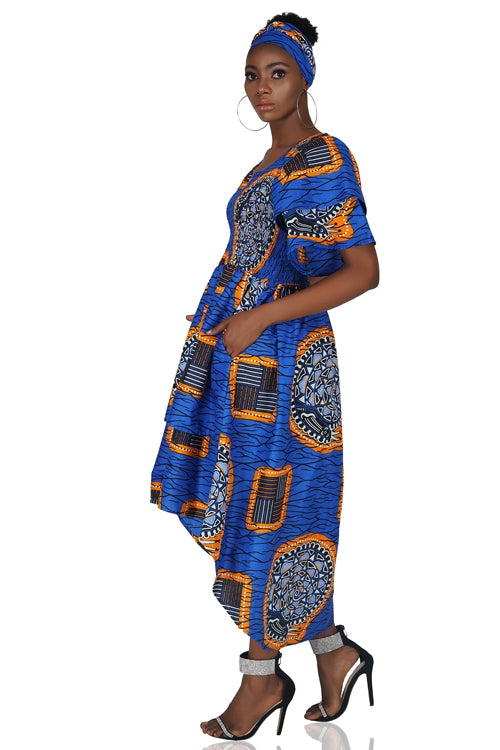 African Tiered High Low Dress