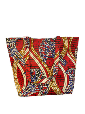 Ankara Red Tote Bag