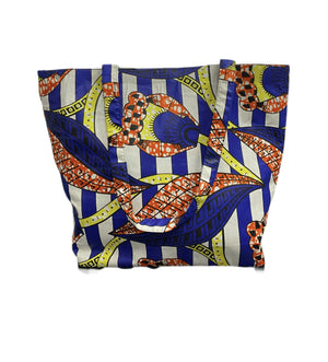 Ankara White Blue Tote Bag
