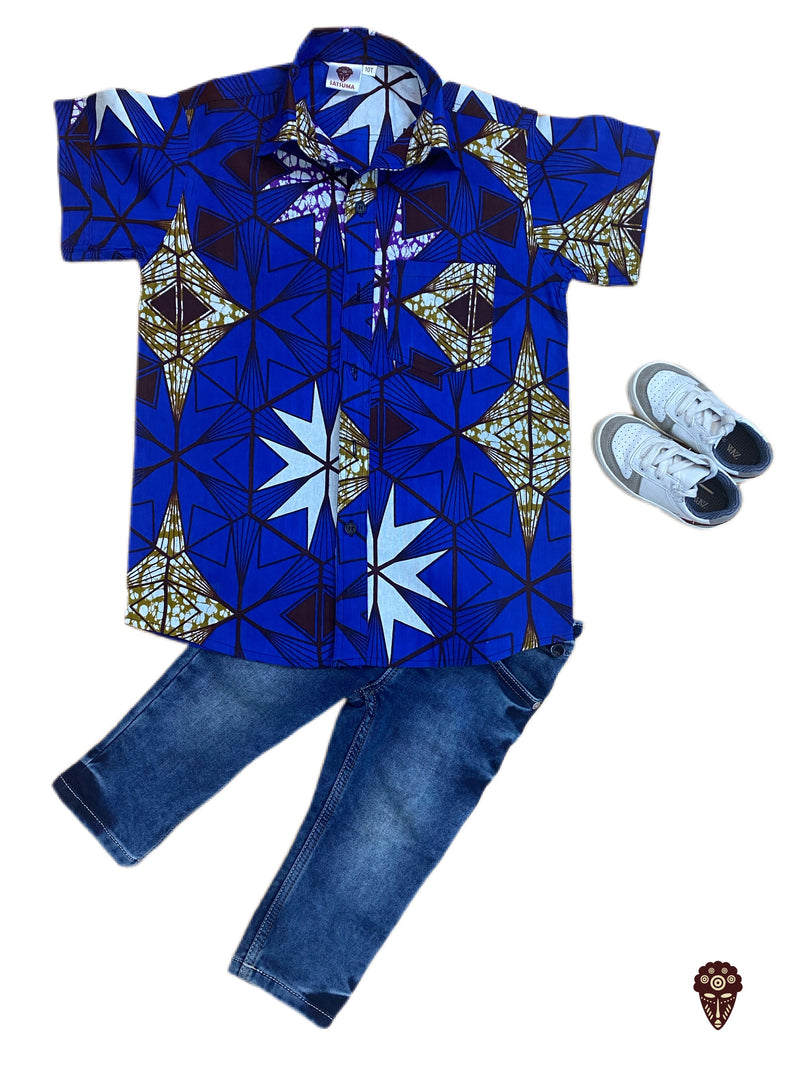 Blue Ankara Shirt For Boys