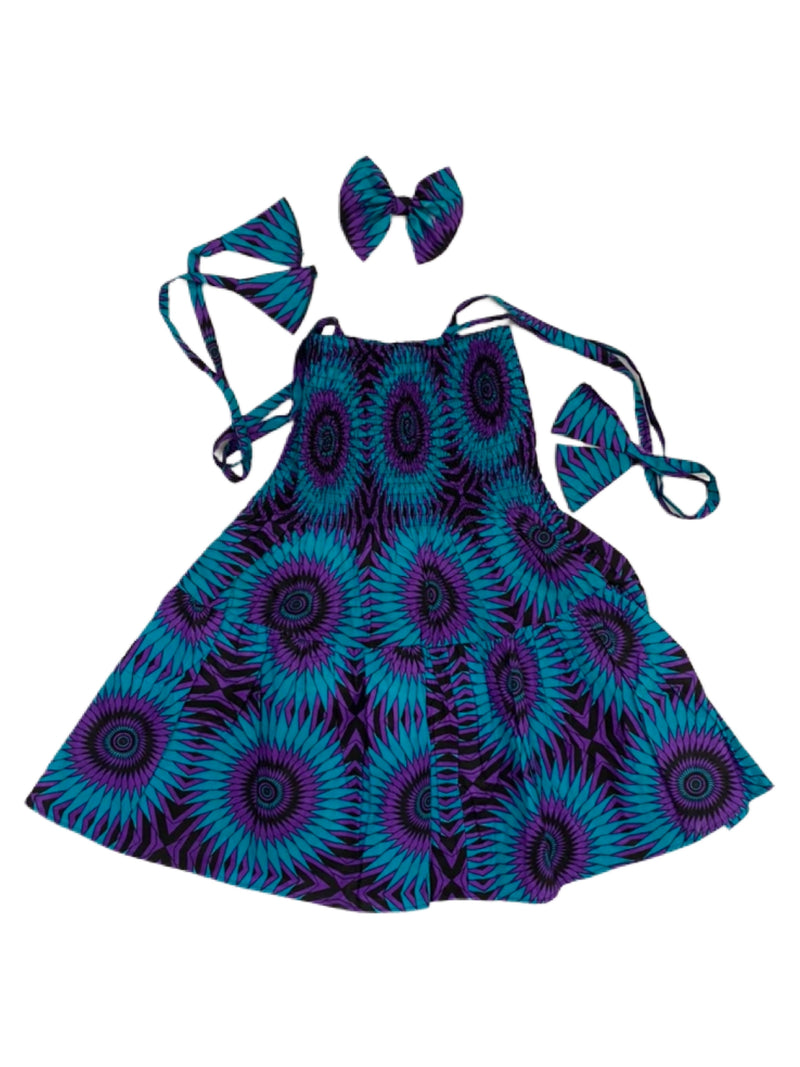 Girls Printed Fit and Flare Dress With Hair Bow
