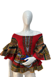 Red Dashiki Double Layer Smoked Top With Matching Face Mask