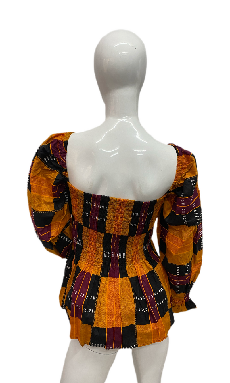 Ankara Smoked Blouse Full Sleeves