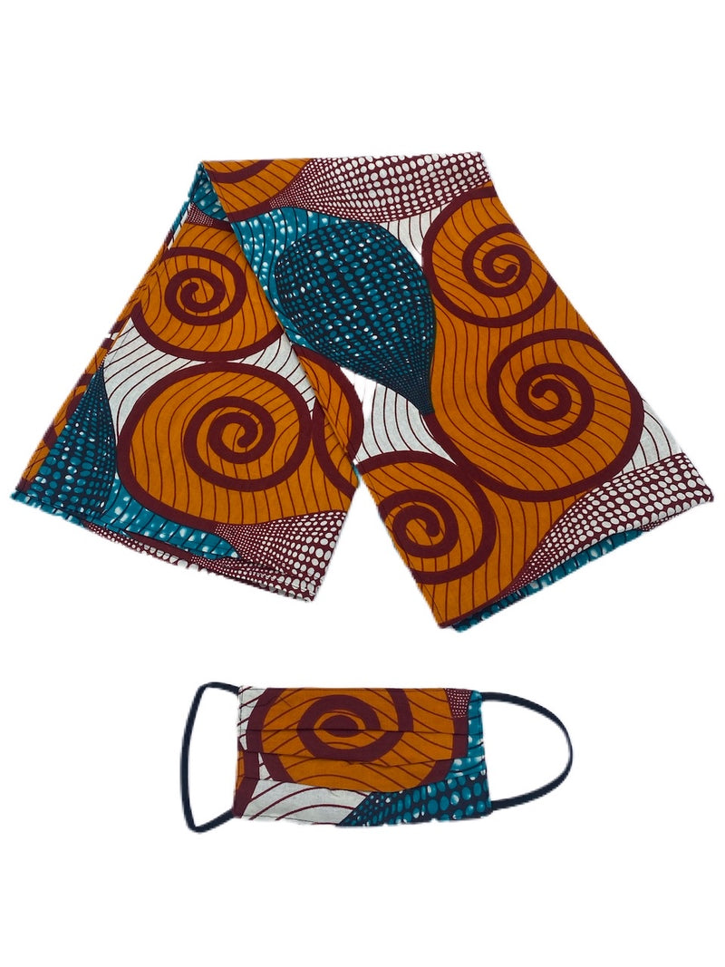 Ankara Head Wrap & Face Mask Set