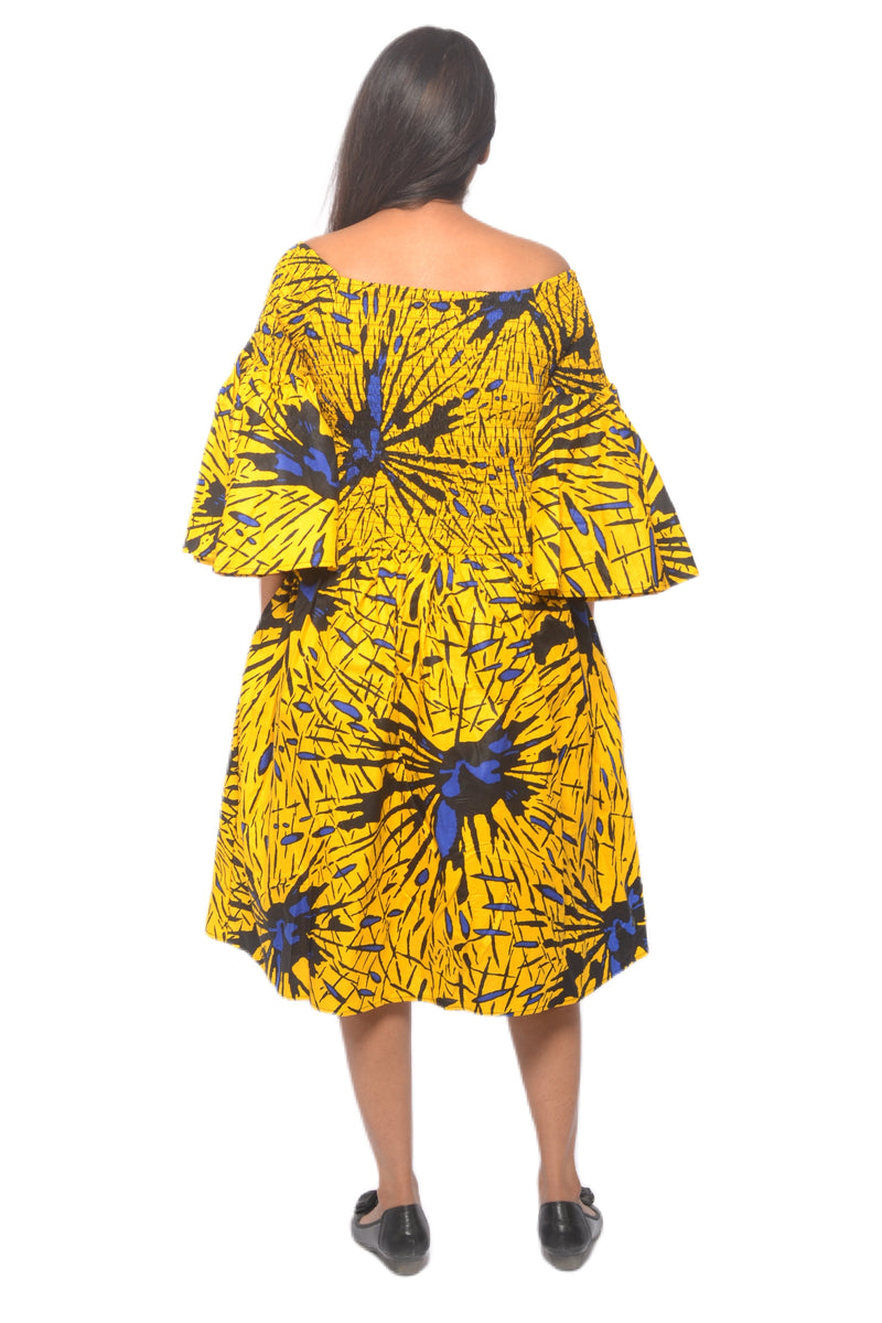 Yellow Ankara Short Elastic/Smoked Dress