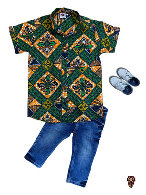 Green Ankara Shirt For Boys