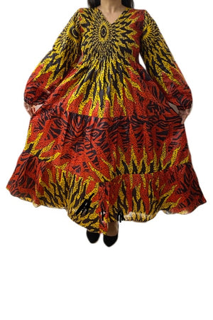 African Smoked Tier Maxi Dress