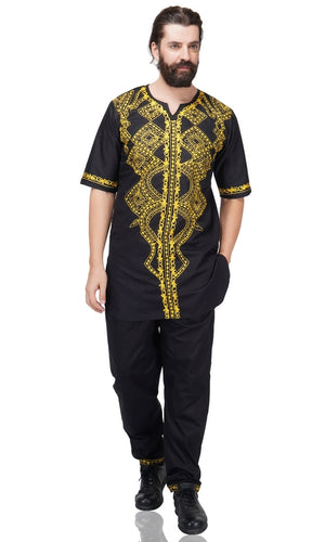 Embroidered Long Top and Pant Set With Hat