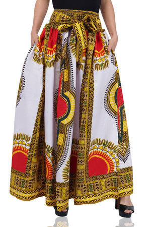 Traditional Dashiki Print Long Maxi Skirt
