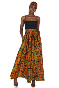 Kente Long Maxi Skirt With Handbag