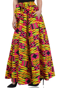 Kente Print Long Maxi Skirt