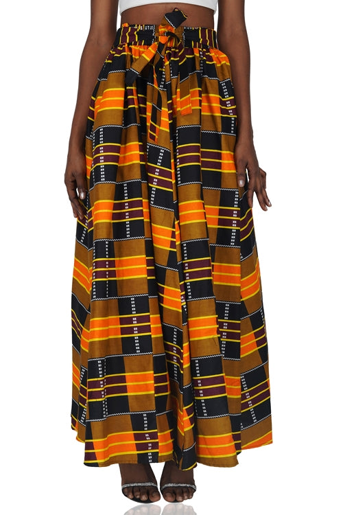 Kente Print Maxi Skirt With Handbag