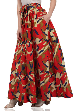 Red Camouflage Long Maxi Skirt