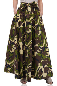 Green Camouflage Long Maxi Skirt
