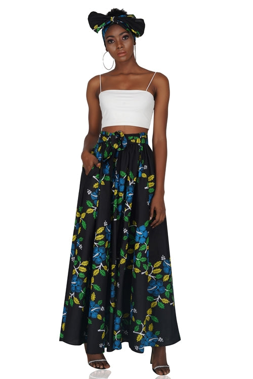 Black Floral Ankara Long Maxi Skirt with Handbag