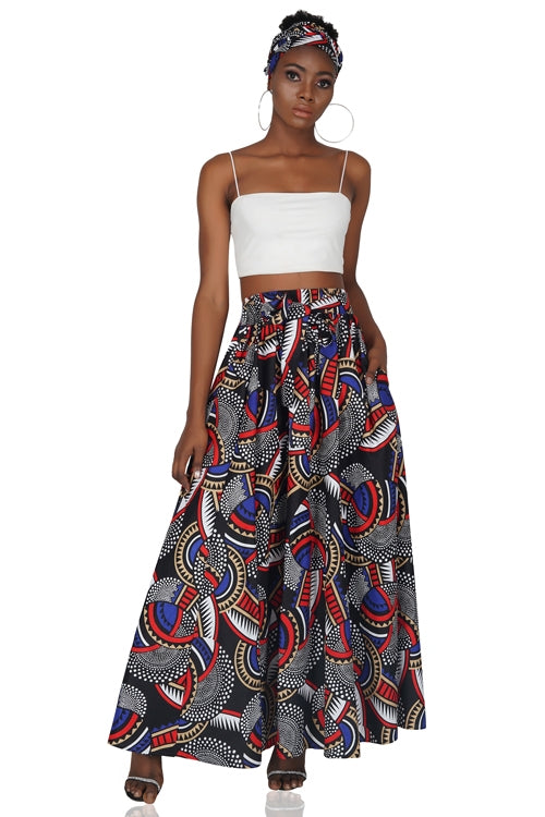 Ankara Long Maxi Skirt With Matching Handbag