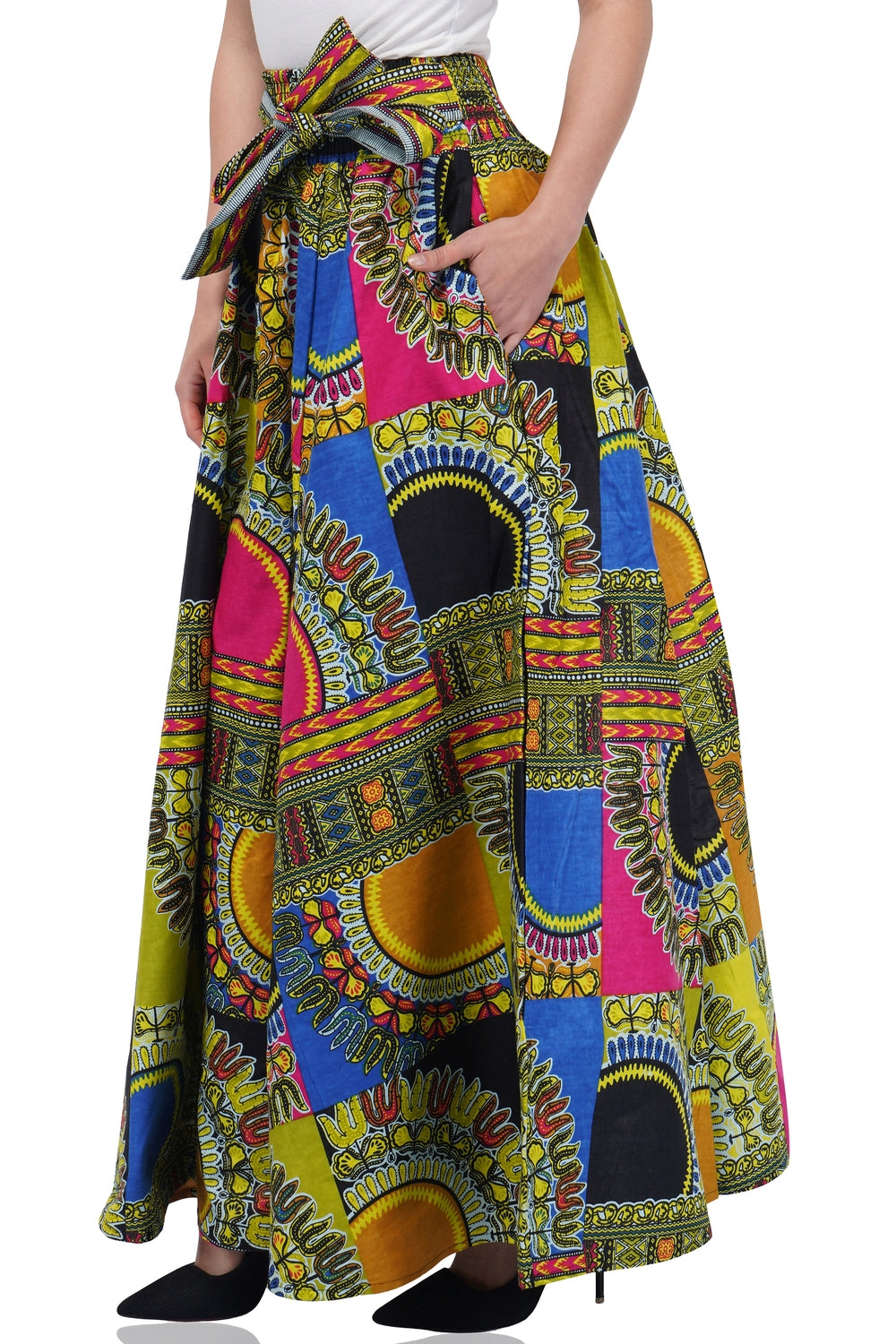 Dashiki Patch Print Long maxi Skirt