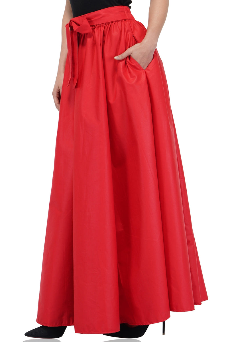 Solid Red Long Maxi Skirt