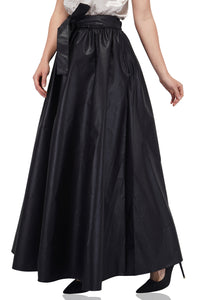 Solid Black Long Maxi Skirt