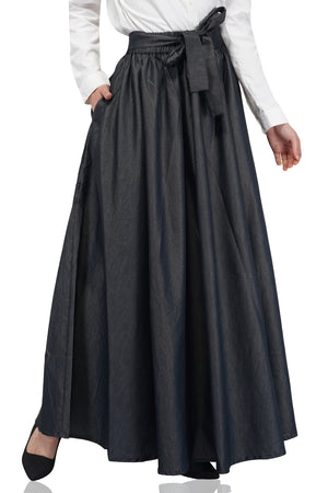 Smoke Grey Denim Long maxi Skirt