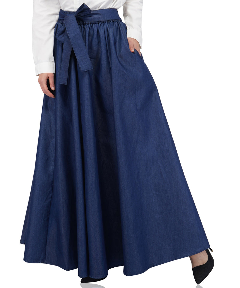 Indigo Denim Long maxi Skirt