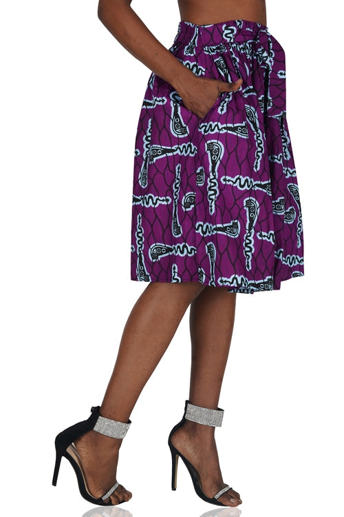 Purple Ankara Short Skirt