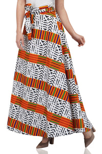 Traditional Kente & Mud Print Wrap Skirt