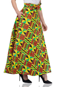 Traditional Kente Print Wrap Skirt